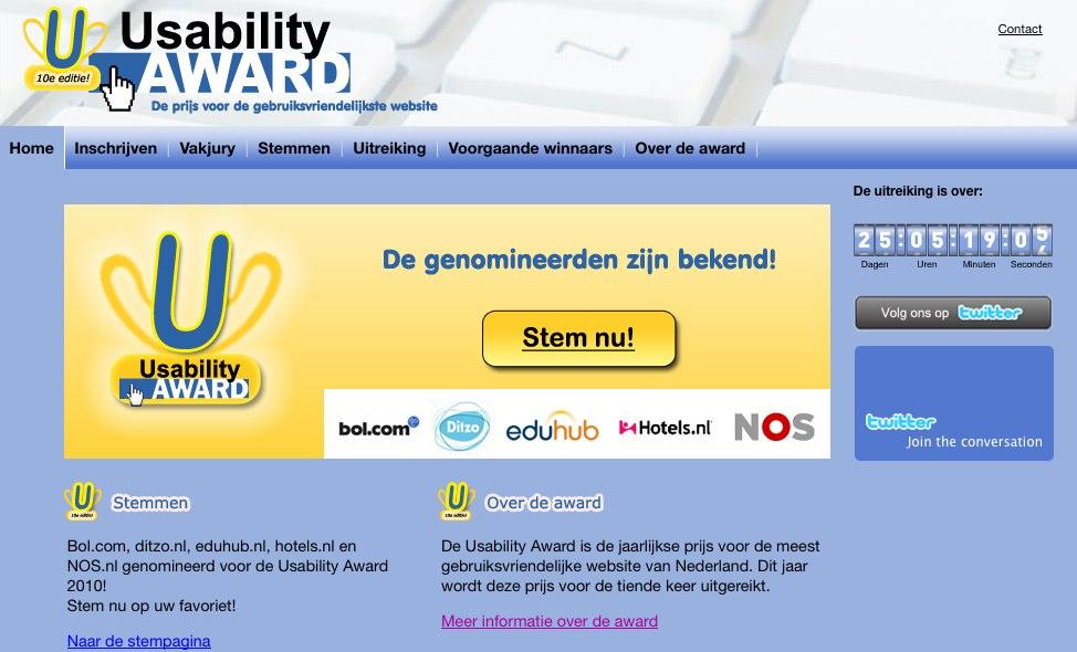 Home - Usability Award_ De prijs voor de gebruiksvriendelijkste website